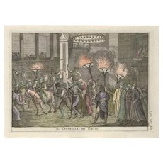 Turkish Carnival - Original Etching by G. Pivati - 1746-1751