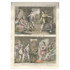 Wedding and Divorce among the Canadians - Original Etching by G. Pivati - 1746-1751