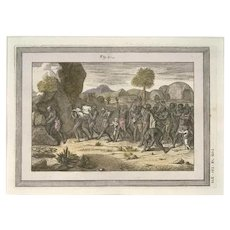 Funeral Procession among the Indigenouses - Original Etching by G. Pivati - 1746-1751