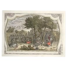 Sacrifices Among the Natives - Original Colored Etching by G. Pivati - 1746-1751