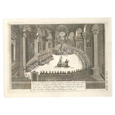 The Holy Council - Original Color Etching by G. Pivati - 1746-1751