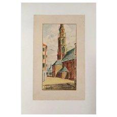 Egon Schiele (After), Original Lithograph Kirche von Bozen