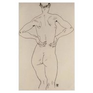Egon Schiele (After), Original Lithograph Weiblicher Rückenakt
