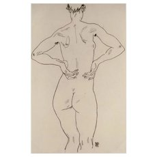 Egon Schiele (After), Original Lithograph Weiblicher Rückenakt