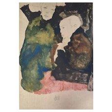 Egon Schiele (after), Vorstadtkinder, Original Color Lithograph
