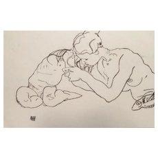 Egon Schiele (After), Original Lithograph Zwei sich küssende Mädchen