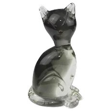 Morano Vintage Glass Cat, 1980s