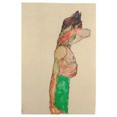 Ego Schiele (After), Original Lithograph Mädchen mit grünem Rock