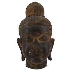 Ancient Bronze Head of Oriental Divinity, 19th Century