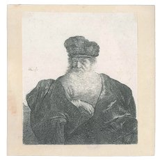 Original Ancient Etching by Rembrandt
