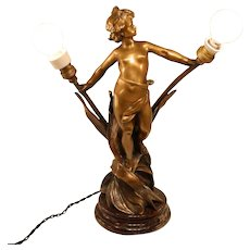 Bronze 19th century sculptural lamp