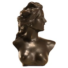 Bronze bust of a nude lady