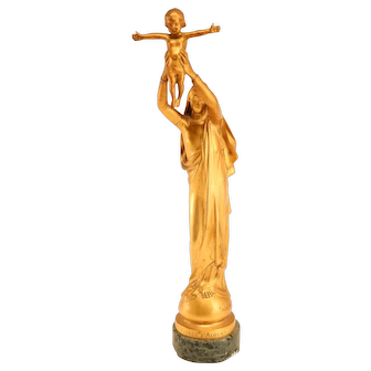 Gilded bronze sculpture Virgin Mary by Barbedienne