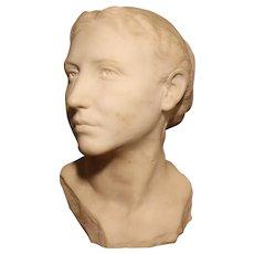 Art Nouveau carrara marble bust