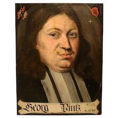 German Portrait in Oil on Panel From 1686