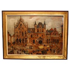 View In Oil On The Main Market Square In Mechelen, Belgium