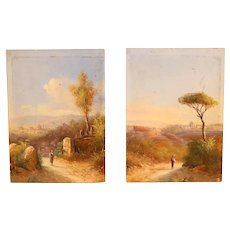 A Pair of Lovely 19th Century Small Oil Paintings Of Florence.