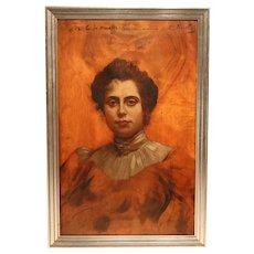 Stunning 19th Century Portrait In Oil On Panel