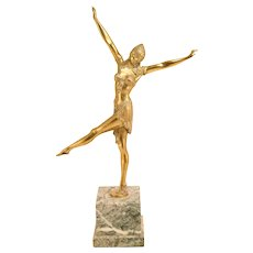 Stunning Bronze Art Deco Sculpture Exotic Dancer