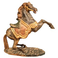 Stunning Antique Wood Carved Statue Of A Prancing Horse