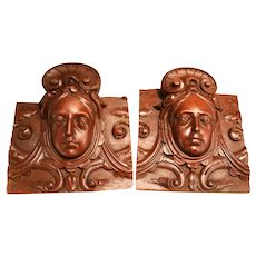 Two Amazing Mahogany Wood Haut-Relief Carved Sculptures