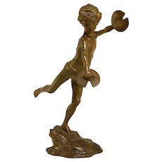Stunning Bronze Sculpture Of A Cheerful Young Faun