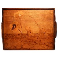 Emile Gallé Walnut Marquetry Serving Tray