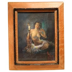 Lovely Painting Of A Nude By Candlelight On Panel