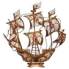 Seventeenth Century Classical Portuguese Filigree Galleon Model