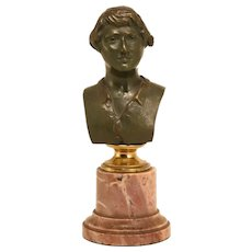 Antique Bronze Bust On Marble Base