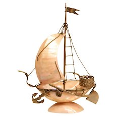 Lovely Antique Mother Of Pearl Sailboat