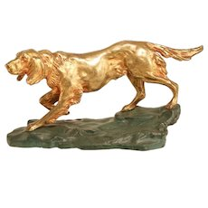 Stunning Gilt Bronze Antique Dog Statue