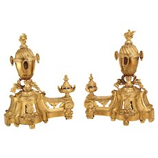 Pair Of Very Beautiful French Antique Gilt Bronze Louis XVI Style Fire Dogs