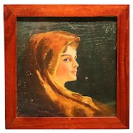 Lovely Small Portrait In Oil On Panel From 1918