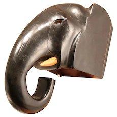 Art Deco Wooden Elephant Brush Holder