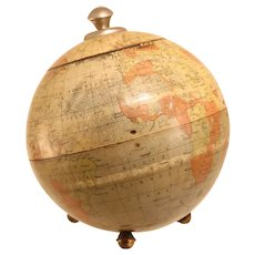 Rare Antique Globe Shaped Biscuit Tin
