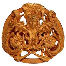 Gilt Bronze Art Nouveau Sarah Bernardt Belt Buckle