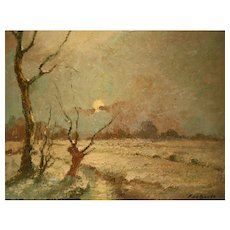 Oil On Canvas With Winter Landscape