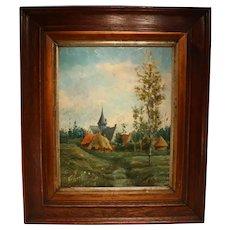 19th Century Oil On Mahogany Panel