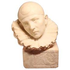 Stunning Alabaster Art Deco Bust Pierrot 1935
