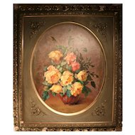 Stunning French Still Life With Flowers Oil On Panel