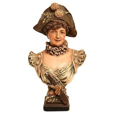 Lovely Antique Hand Painted Plaster Bust