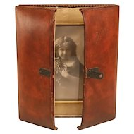 Antique Leather Folding English Photo Frame