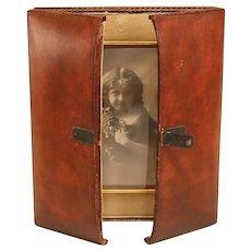 Antique Leather Folding English Photo Frame