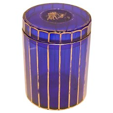 Stunning Cobalt Blue 19th Century Glass Lid Jar