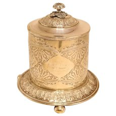 Large Silver Plate Biscuit Tin From 1876