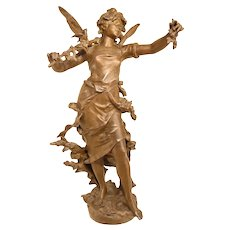 Lovely Antique Sculpture Of A Forest Nymph By Moreau