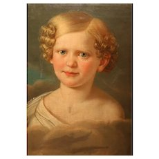 Lovely 18th Century Portrait Of A Girl In Oil On Canvas