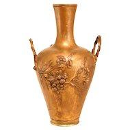 Signed Metal Art Nouveau Vase From 1900