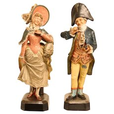 Lovely Pair Of 19th Century Terracotta Figurines